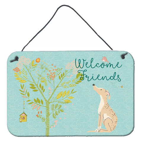 Buy this Welcome Friends Brindle Greyhound Wall or Door Hanging Prints BB7591DS812