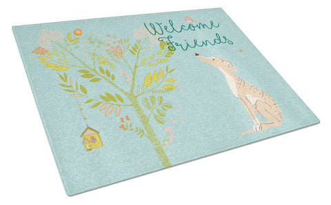 Buy this Welcome Friends Brindle Greyhound Glass Cutting Board Large BB7591LCB