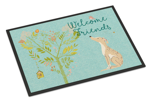 Buy this Welcome Friends Brindle Greyhound Indoor or Outdoor Mat 18x27 BB7591MAT