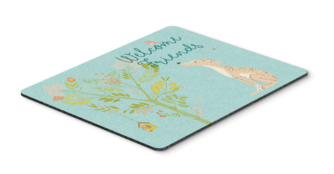 Buy this Welcome Friends Brindle Greyhound Mouse Pad, Hot Pad or Trivet BB7591MP