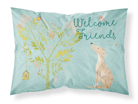 Buy this Welcome Friends Brindle Greyhound Fabric Standard Pillowcase BB7591PILLOWCASE