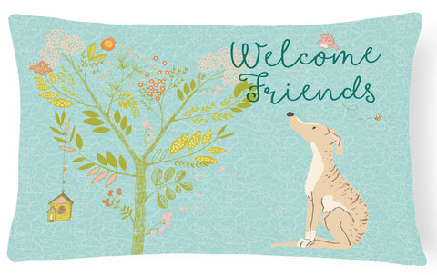 Buy this Welcome Friends Brindle Greyhound Canvas Fabric Decorative Pillow BB7591PW1216