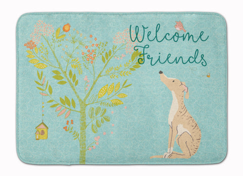 Buy this Welcome Friends Brindle Greyhound Machine Washable Memory Foam Mat BB7591RUG