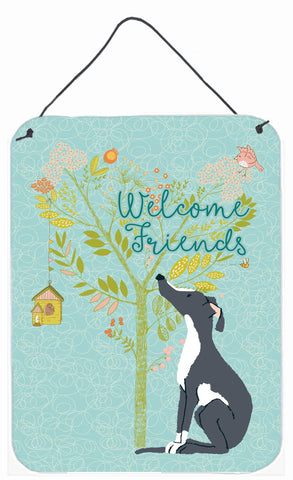 Buy this Welcome Friends Black White Greyhound Wall or Door Hanging Prints BB7592DS1216