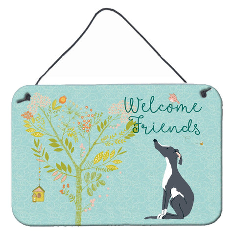 Buy this Welcome Friends Black White Greyhound Wall or Door Hanging Prints BB7592DS812