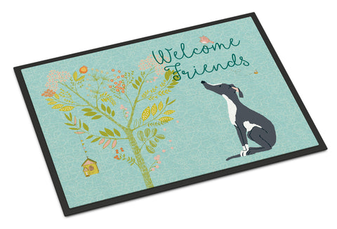 Buy this Welcome Friends Black White Greyhound Indoor or Outdoor Mat 18x27 BB7592MAT