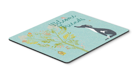 Buy this Welcome Friends Black White Greyhound Mouse Pad, Hot Pad or Trivet BB7592MP