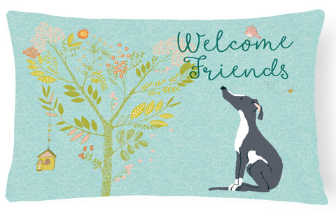 Buy this Welcome Friends Black White Greyhound Canvas Fabric Decorative Pillow BB7592PW1216