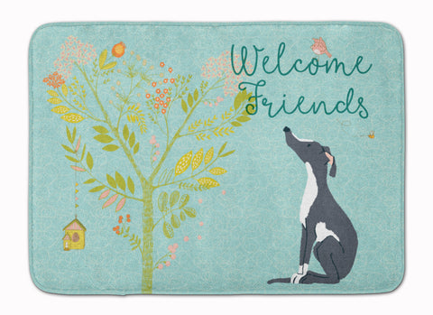 Buy this Welcome Friends Black White Greyhound Machine Washable Memory Foam Mat BB7592RUG