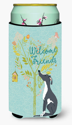 Buy this Welcome Friends Black White Greyhound Tall Boy Beverage Insulator Hugger BB7592TBC