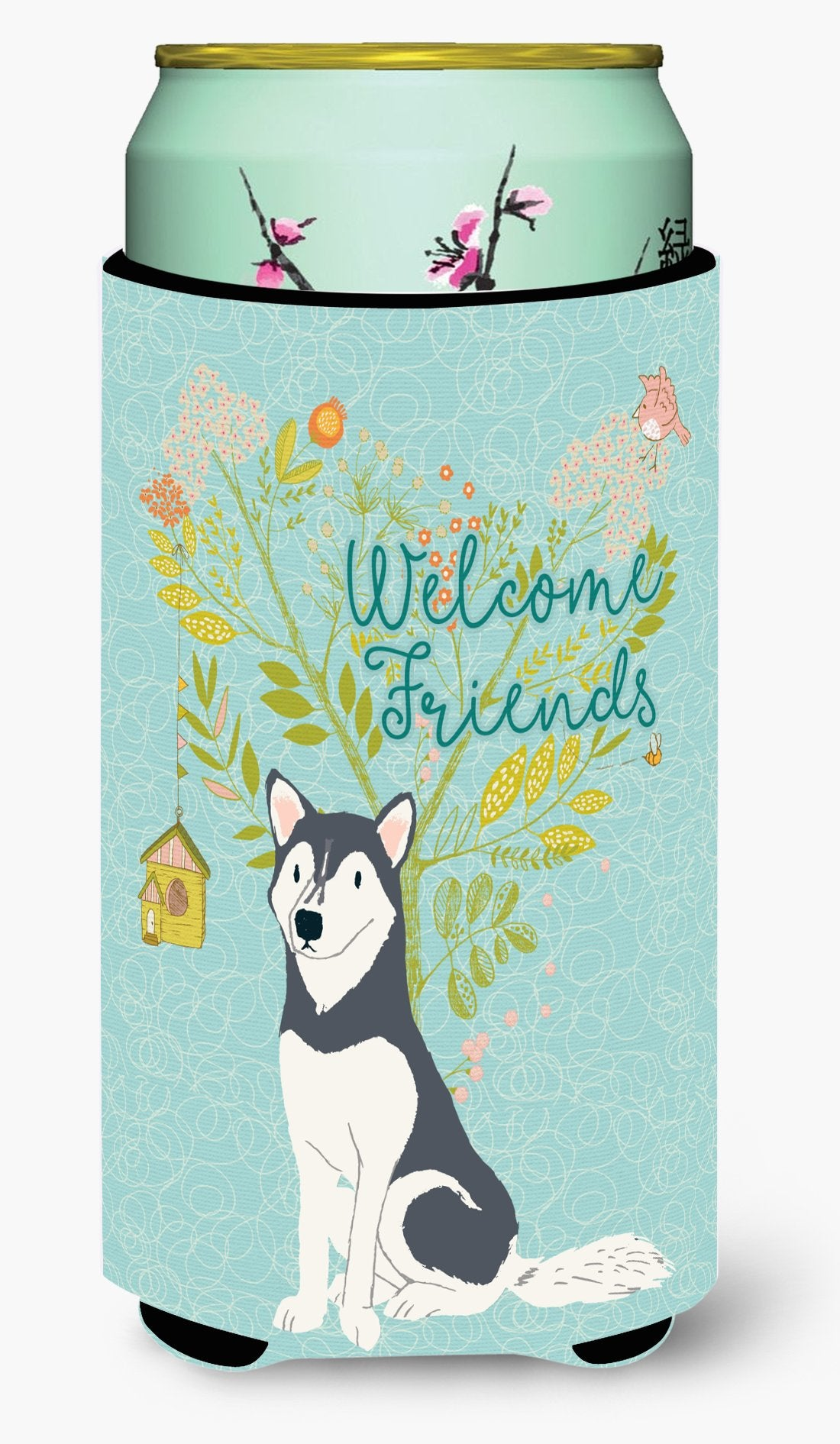Welcome Friends Siberian Husky Tall Boy Beverage Insulator Hugger BB7594TBC by Caroline's Treasures