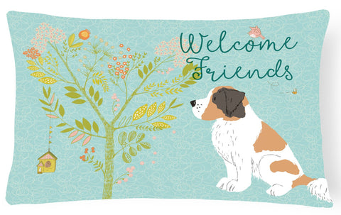 Buy this Welcome Friends Saint Bernard Canvas Fabric Decorative Pillow BB7599PW1216