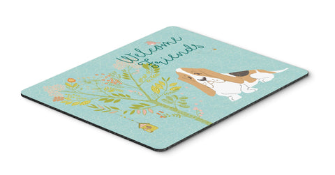 Buy this Welcome Friends Basset Hound Mouse Pad, Hot Pad or Trivet BB7600MP