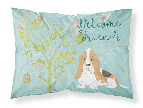 Buy this Welcome Friends Basset Hound Fabric Standard Pillowcase BB7600PILLOWCASE