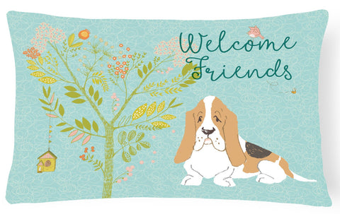 Buy this Welcome Friends Basset Hound Canvas Fabric Decorative Pillow BB7600PW1216