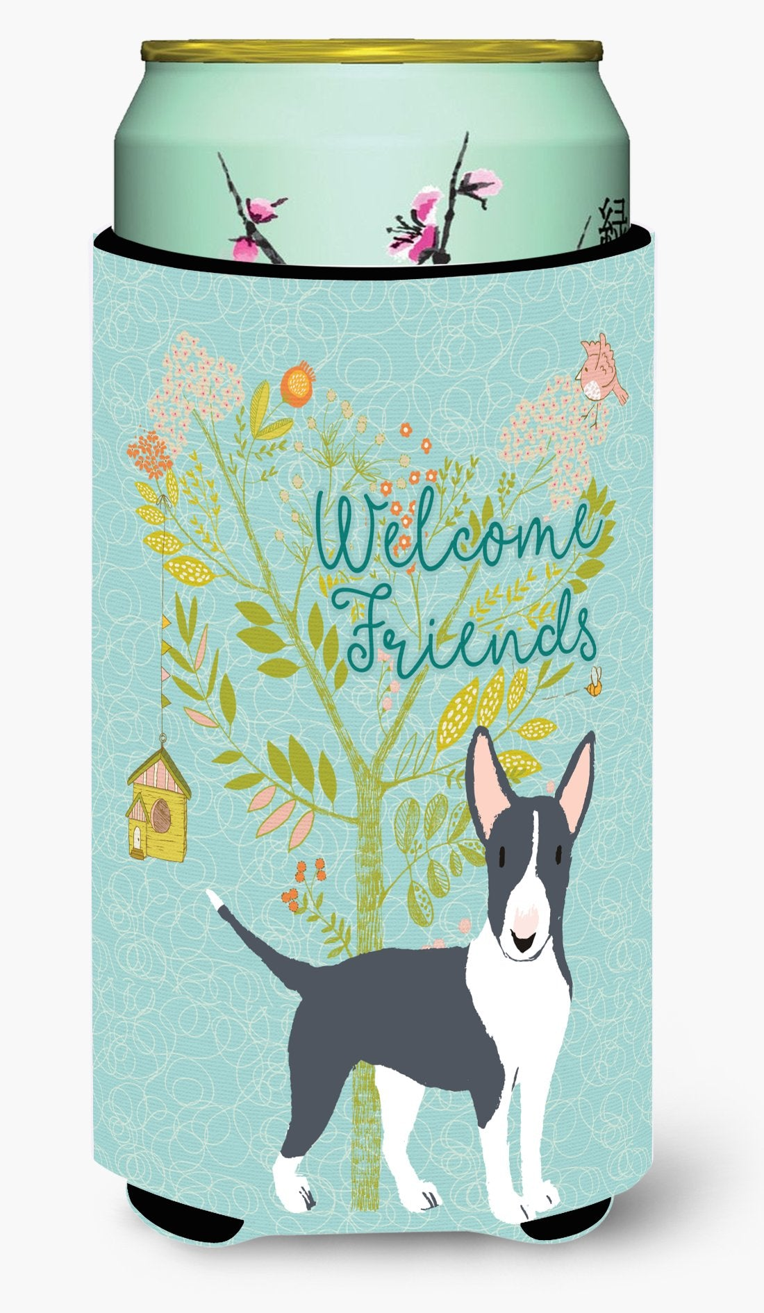 Welcome Friends Black Bull Terrier Tall Boy Beverage Insulator Hugger BB7604TBC by Caroline's Treasures