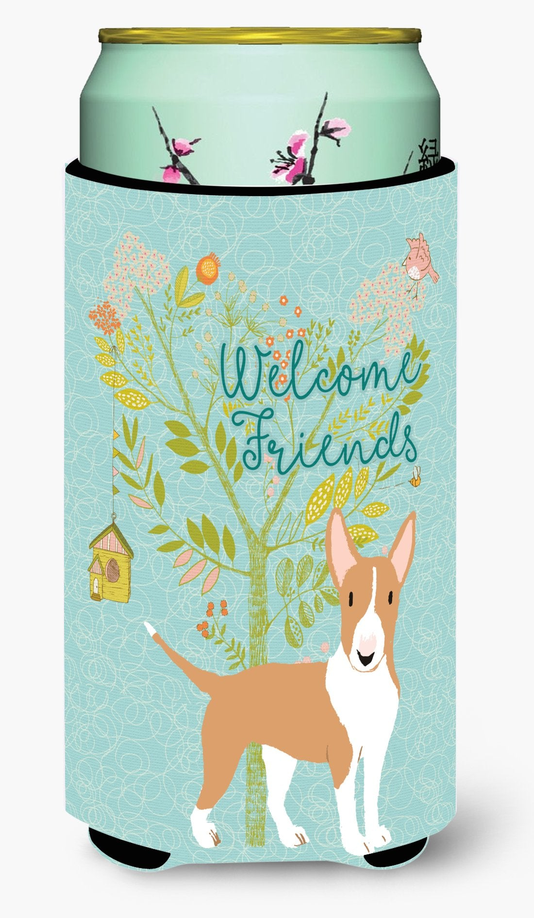 Welcome Friends Brown Bull Terrier Tall Boy Beverage Insulator Hugger BB7605TBC by Caroline's Treasures