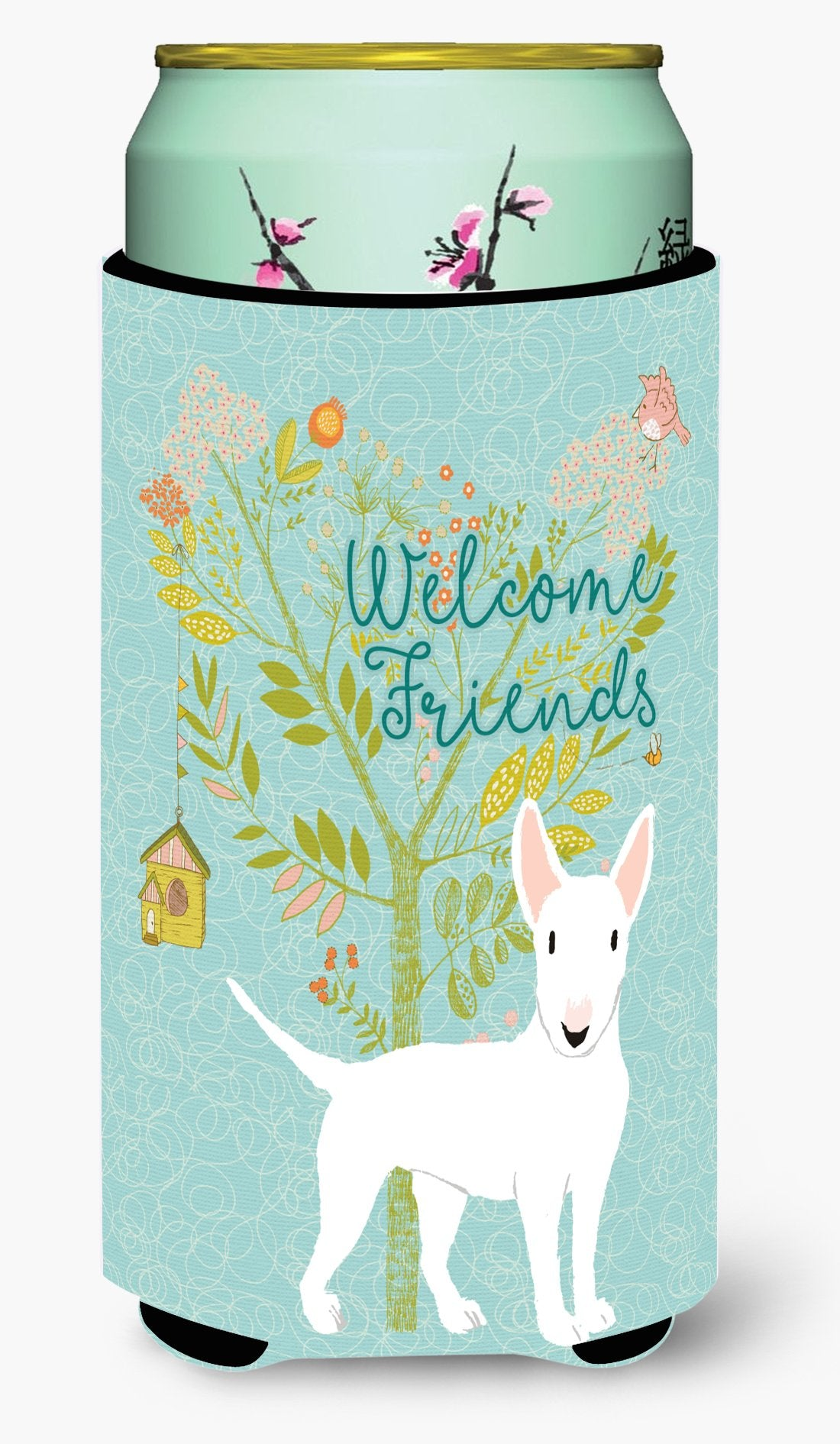 Welcome Friends White Bull Terrier Tall Boy Beverage Insulator Hugger BB7606TBC by Caroline's Treasures