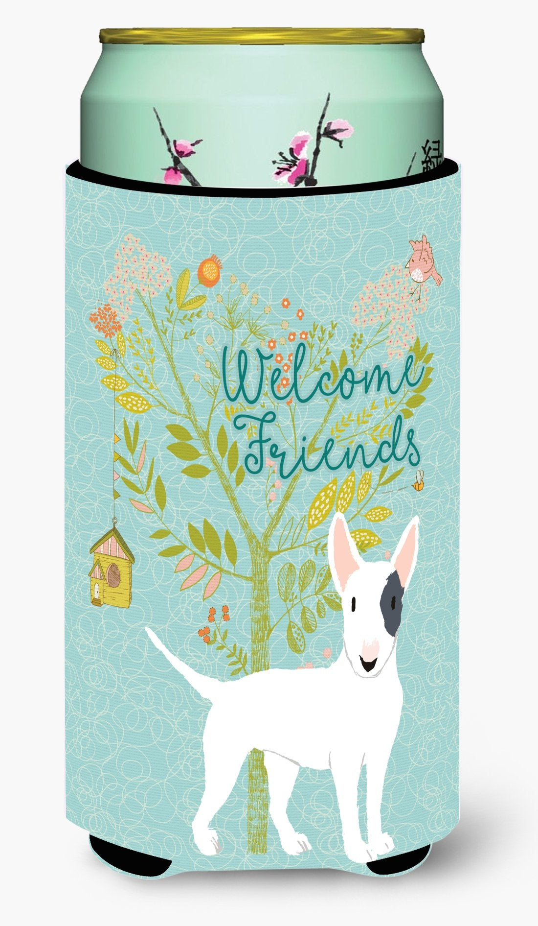 Welcome Friends White Patched Bull Terrier Tall Boy Beverage Insulator Hugger BB7607TBC by Caroline's Treasures