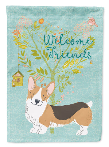 Buy this Welcome Friends Pembroke Welsh Corgi Tricolor Flag Canvas House Size BB7609CHF