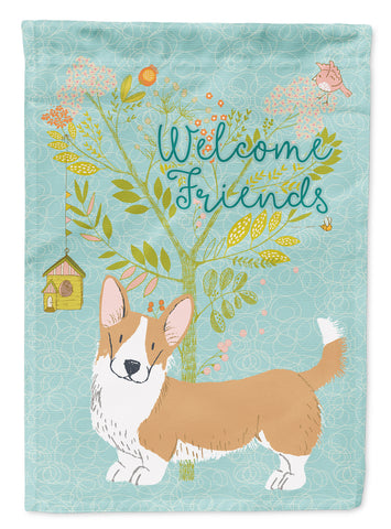 Buy this Welcome Friends Cardigan Welsh Corgi Tricolor Flag Canvas House Size BB7611CHF