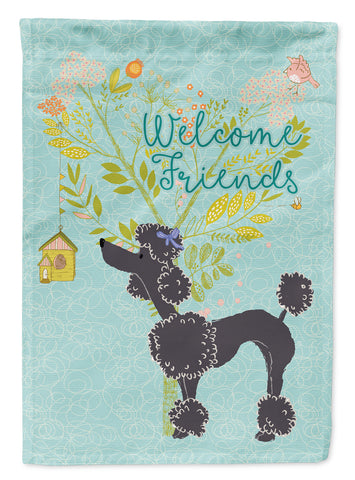 Buy this Welcome Friends Black Poodle Flag Canvas House Size BB7615CHF