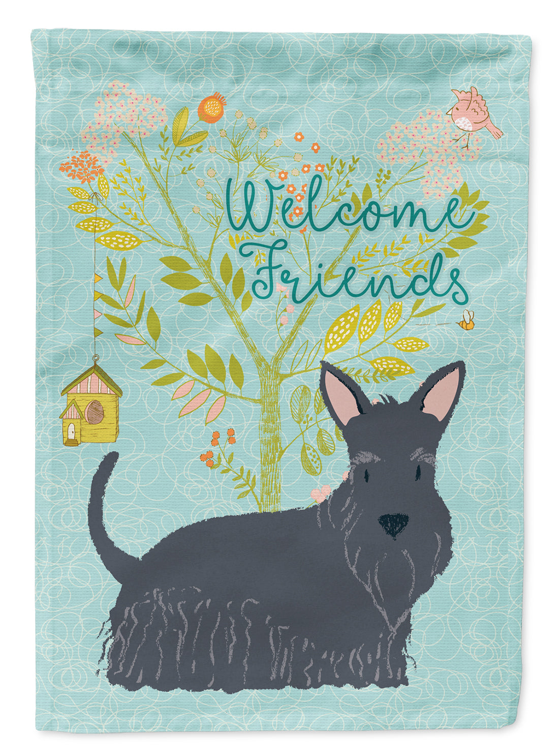 Welcome Friends Scottish Terrier Flag Canvas House Size BB7616CHF by Caroline's Treasures