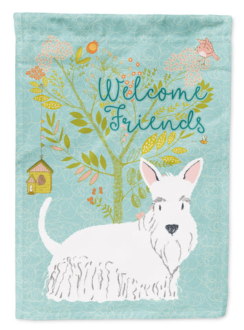 Buy this Welcome Friends White Scottish Terrier Flag Canvas House Size BB7617CHF