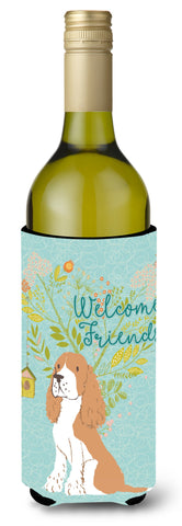 Buy this Welcome Friends Gold Springer Spaniel Wine Bottle Beverge Insulator Hugger BB7620LITERK