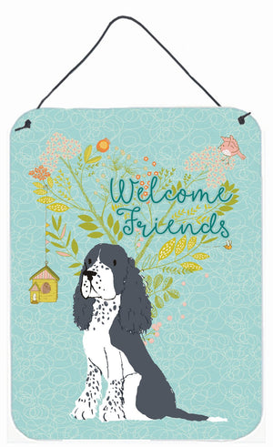 Buy this Welcome Friends Black Springer Spaniel Wall or Door Hanging Prints BB7621DS1216