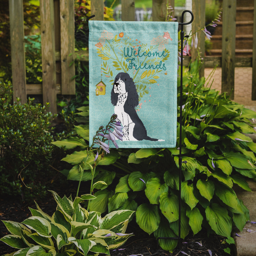 Buy this Welcome Friends Black Springer Spaniel Flag Garden Size BB7621GF