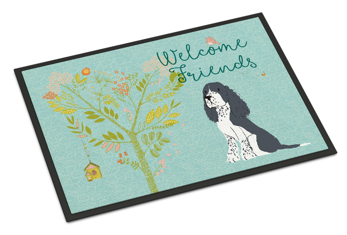 Buy this Welcome Friends Black Springer Spaniel Indoor or Outdoor Mat 24x36 BB7621JMAT