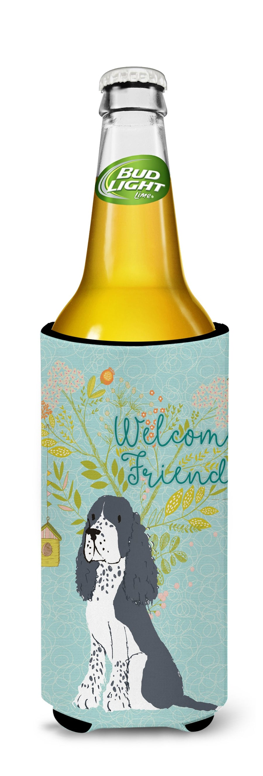 Buy this Welcome Friends Black Springer Spaniel Michelob Ultra Hugger for slim cans BB7621MUK
