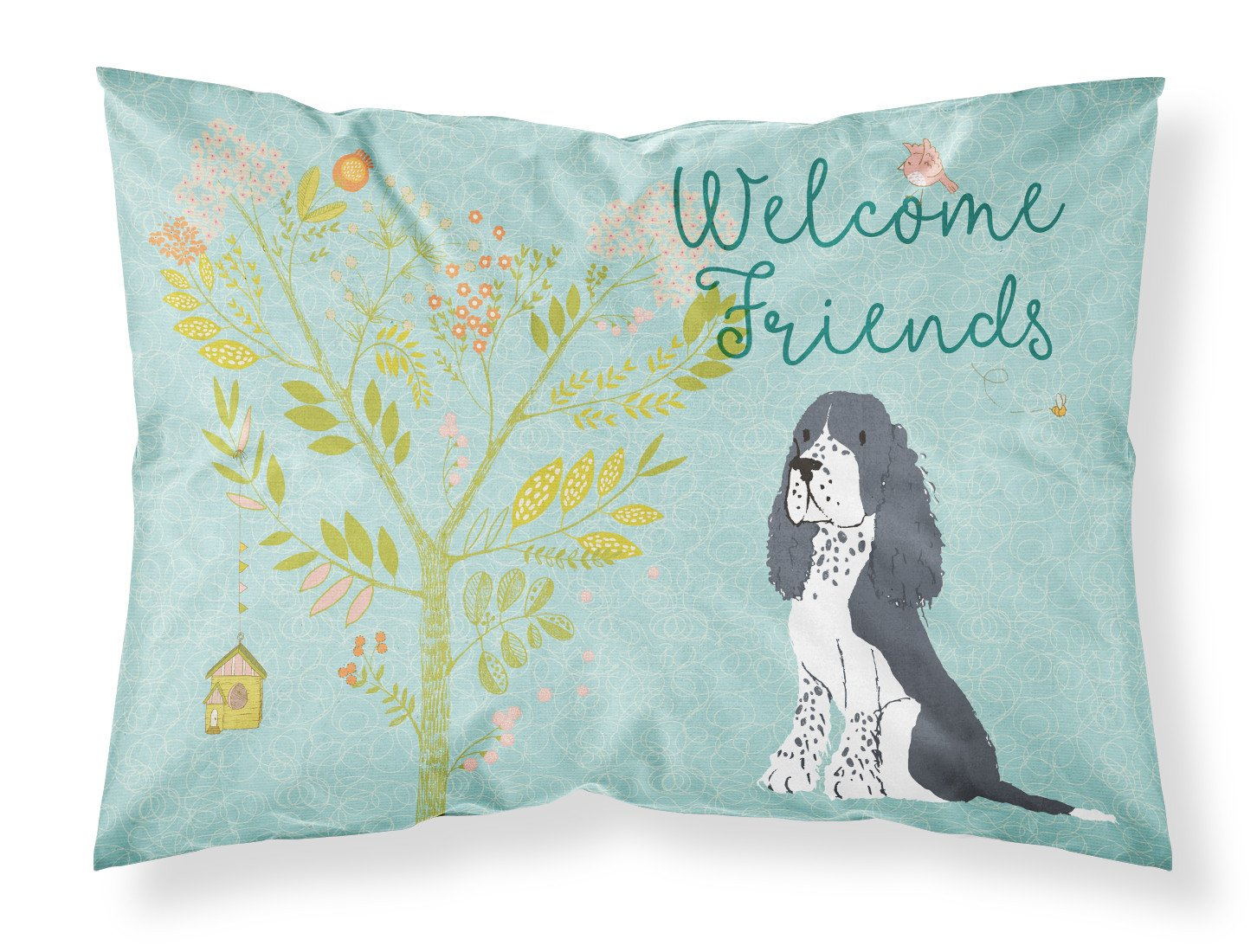 Welcome Friends Black Springer Spaniel Fabric Standard Pillowcase BB7621PILLOWCASE by Caroline's Treasures
