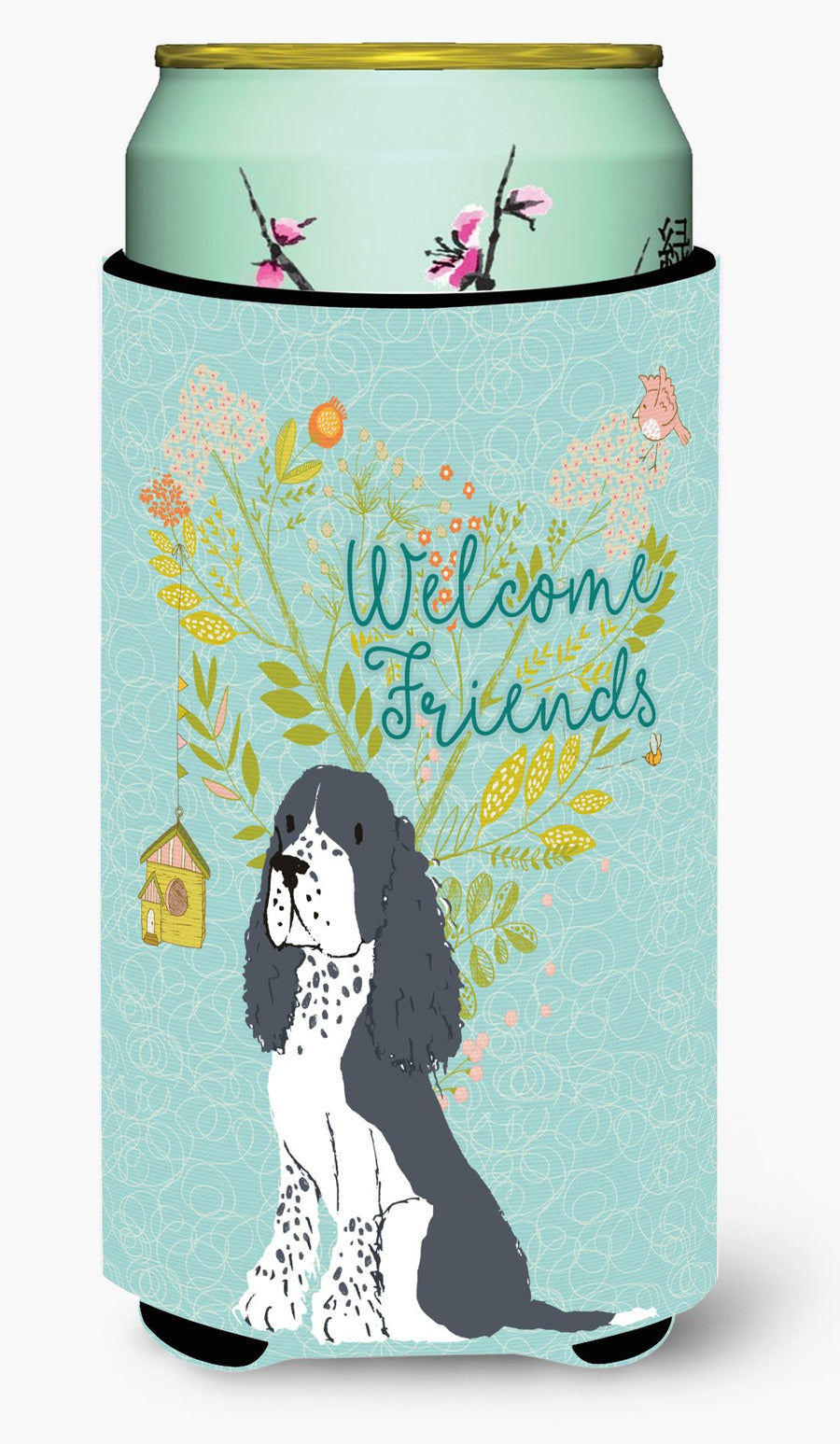 Buy this Welcome Friends Black Springer Spaniel Tall Boy Beverage Insulator Hugger BB7621TBC