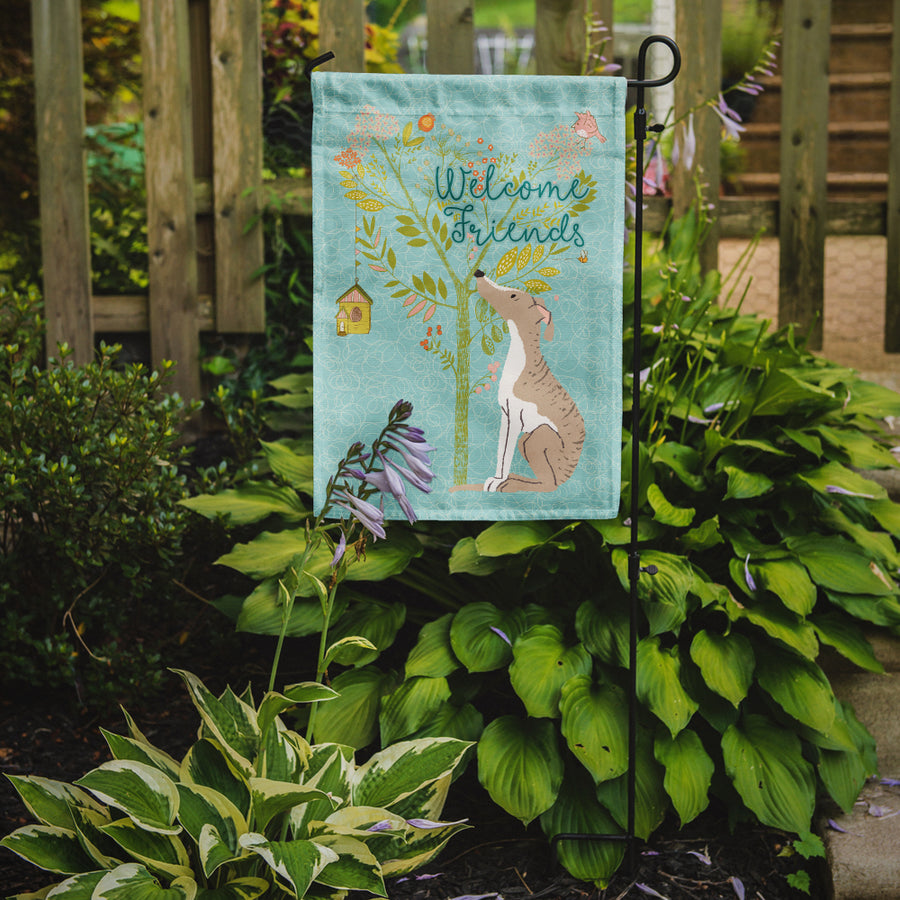Buy this Welcome Friends Whippet Flag Garden Size BB7626GF