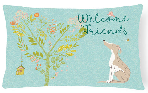 Buy this Welcome Friends Whippet Canvas Fabric Decorative Pillow BB7626PW1216