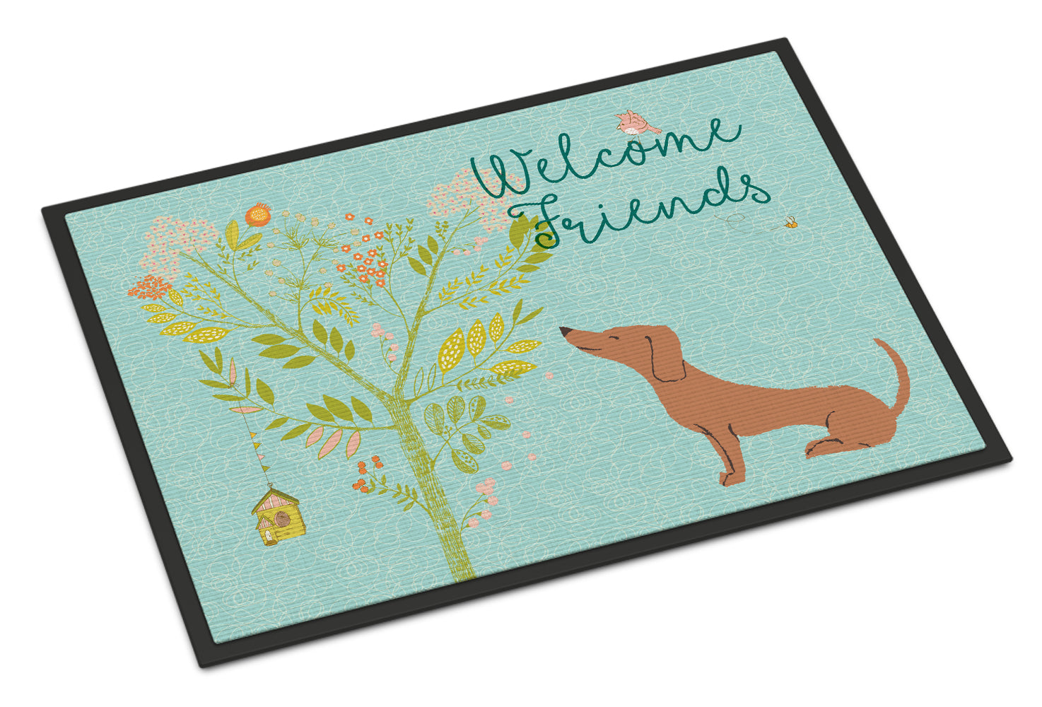 Welcome Friends Red Dachshund Indoor or Outdoor Mat 18x27 BB7631MAT by Caroline's Treasures