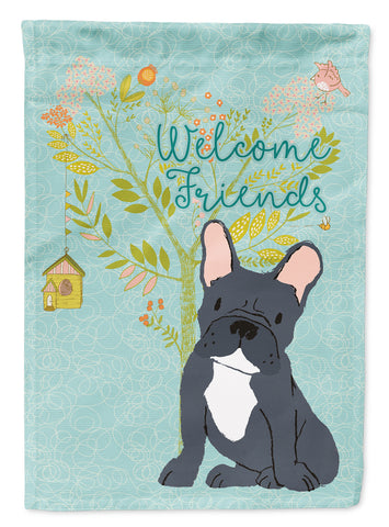 Buy this Welcome Friends Black French Bulldog Flag Canvas House Size BB7632CHF