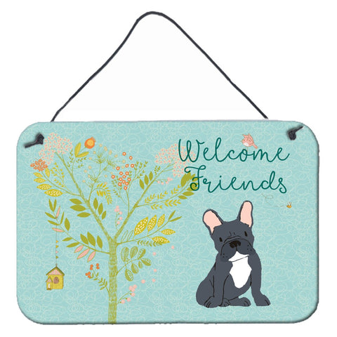 Buy this Welcome Friends Black French Bulldog Wall or Door Hanging Prints BB7632DS812
