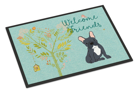 Buy this Welcome Friends Black French Bulldog Indoor or Outdoor Mat 24x36 BB7632JMAT