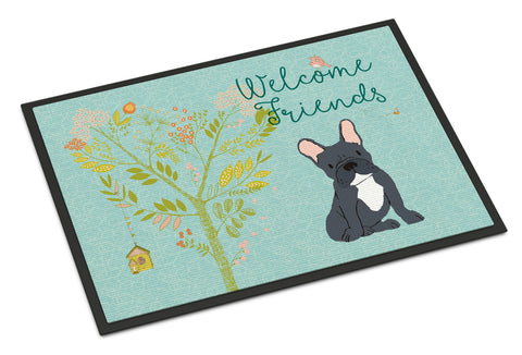Buy this Welcome Friends Black French Bulldog Indoor or Outdoor Mat 18x27 BB7632MAT
