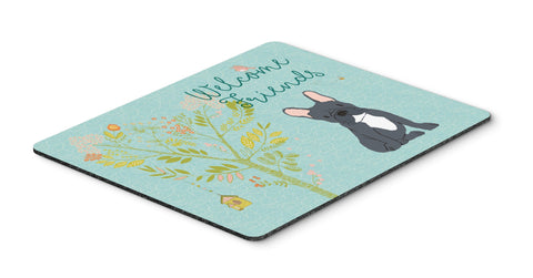 Buy this Welcome Friends Black French Bulldog Mouse Pad, Hot Pad or Trivet BB7632MP
