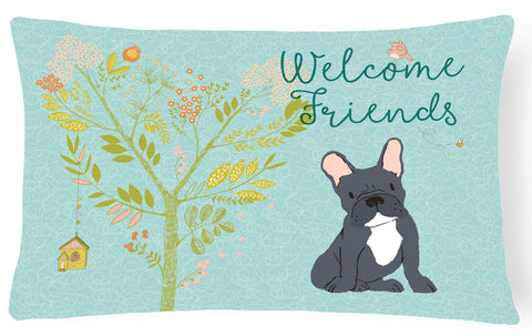 Buy this Welcome Friends Black French Bulldog Canvas Fabric Decorative Pillow BB7632PW1216