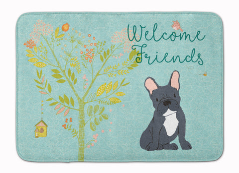 Buy this Welcome Friends Black French Bulldog Machine Washable Memory Foam Mat BB7632RUG
