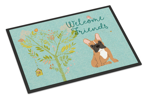 Buy this Welcome Friends Fawn French Bulldog Indoor or Outdoor Mat 18x27 BB7633MAT