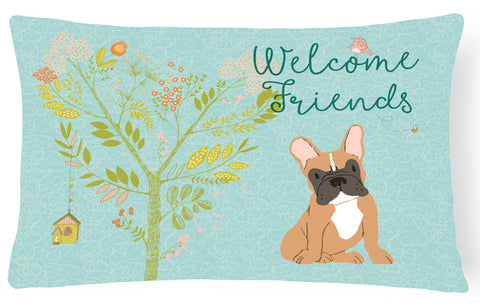 Buy this Welcome Friends Fawn French Bulldog Canvas Fabric Decorative Pillow BB7633PW1216