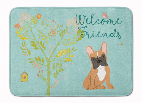 Buy this Welcome Friends Fawn French Bulldog Machine Washable Memory Foam Mat BB7633RUG