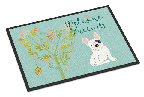 Buy this Welcome Friends Piebald French Bulldog Indoor or Outdoor Mat 24x36 BB7634JMAT