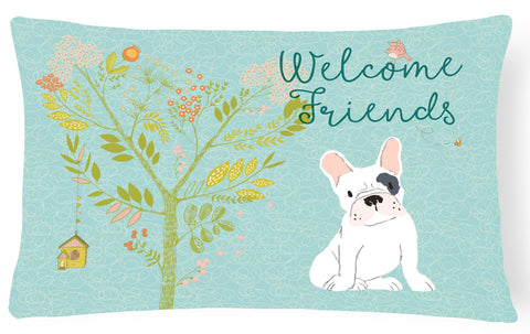 Buy this Welcome Friends Piebald French Bulldog Canvas Fabric Decorative Pillow BB7634PW1216